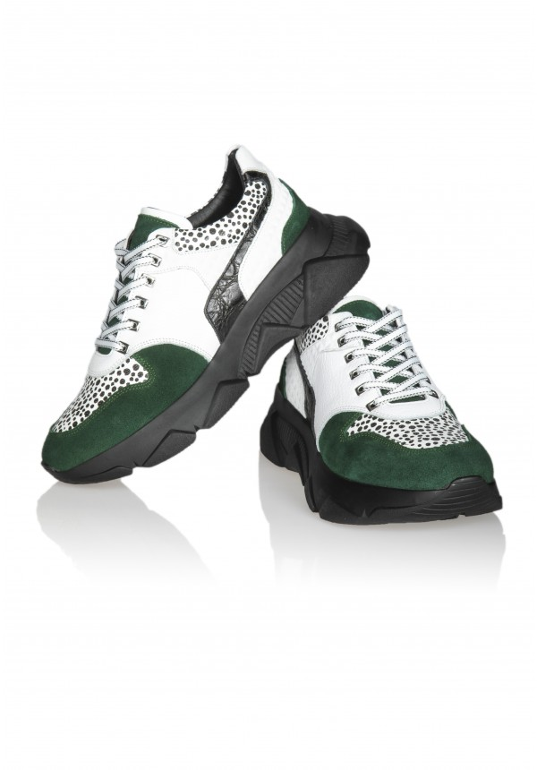 13626 WHİTE AND GREEN SUEDE